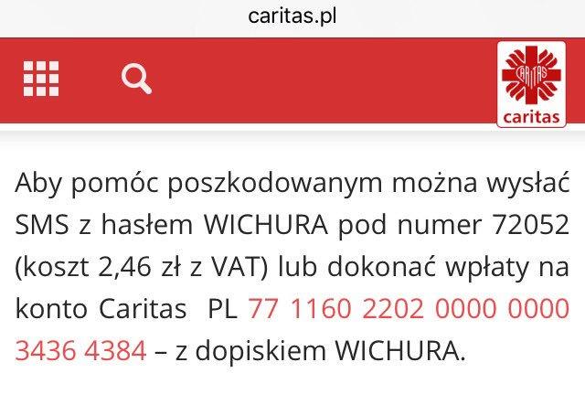 CARITAS SMS WICHURA 72052 (koszt 2,46zł z VAT)