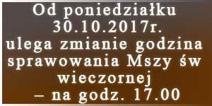Zmiana godziny sprawowania Mszy Św.
